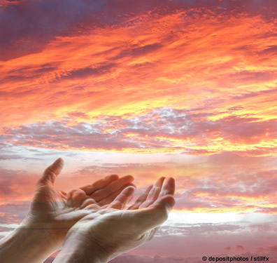 Hands stretched to God