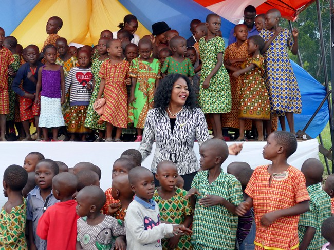 Benedicta with orphans