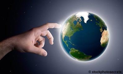 God's hand touches earth